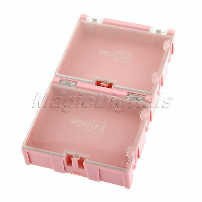 2Pcs Plastic Pink Anti-Static Part Storage Electronic SMT SMD Component Box Case