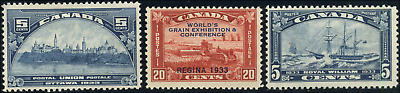 Canada #202-204 mint F/F-VF OG LH/H/DG 1933 Issues Complete CV$47.00