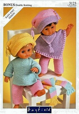 Hayfield-3123  Dolls Outfit  Knitting  Pattern  Height 12-22 in  /  31-56 cm