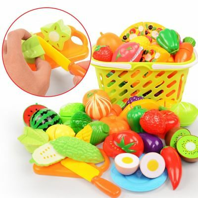 24pcs  Kitchen Pretend Play Toy Fruit Vegetable Cutting Toy Simulation Food UK