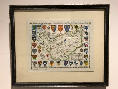 Vintage Framed Copy of an Antique Heraldic Map of the County Palatine Of Chester