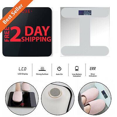 400LB 180KG LCD Digital Bathroom Body Weight Scale w/ Tempered Glass Fitness