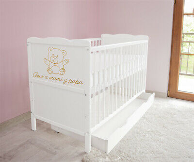 New White Wodden Baby Cot Bed / mattress / teething rails / drawer  nr h