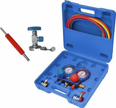 R134A Air Conditioning Manifold Gauge Tool Set Refrigeration 5FT Colored Hose