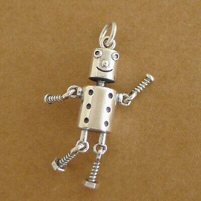 Solid 925 Sterling Silver Hollow 3D Moving Tin Man Robot Charm Pendant Necklace