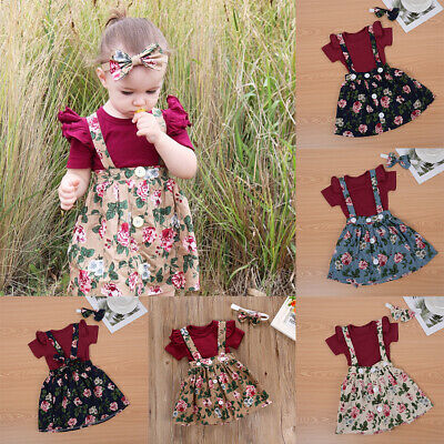 3x Newborn Baby Girl Cotton Tops Romper Floral Strap Dress Outfits Clothes Set