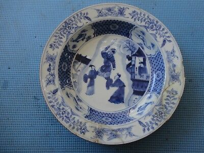 Antique Chinese Kangxi blue and white plate, 17 or18th century