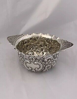Victorian Solid Silver Embossed Bowl 1897 London CHARLES FOX