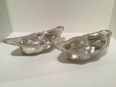 Nice Pair Solid Sterling Silver Boat Shaped Bon Bon Dishes Sheffield 1910
