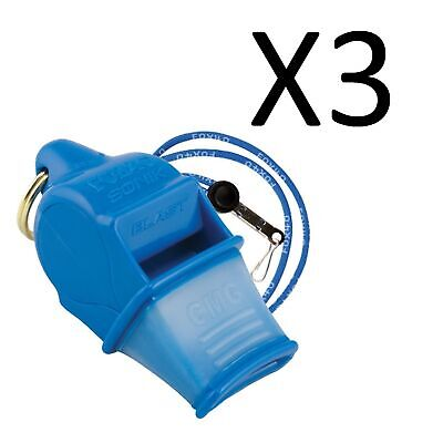 Fox 40 Sonik Blast CMG 2-Chamber Pealess Whistle with Lanyard, Blue (3-Pack)