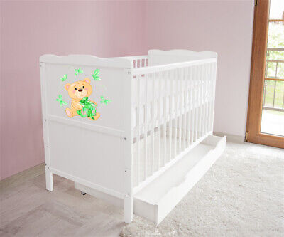 New White Wodden Baby Cot Bed / mattress / teething rails / drawer  nr 33