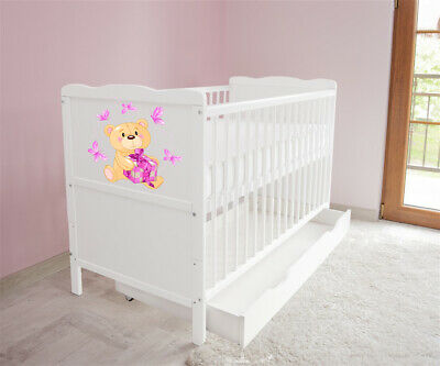 New White Wodden Baby Cot Bed / mattress / teething rails / drawer  nr 34