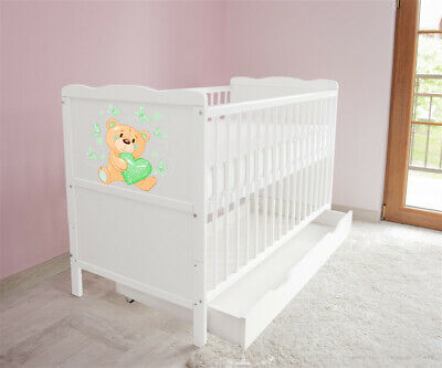 New White Wodden Baby Cot Bed / mattress / teething rails / drawer  nr 35