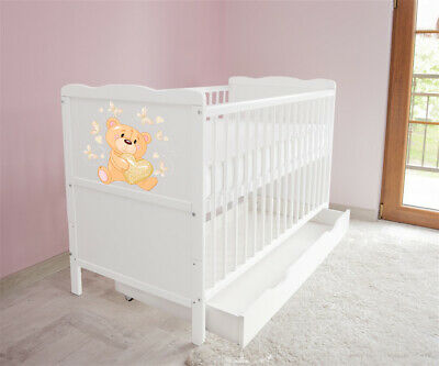 New White Wodden Baby Cot Bed / mattress / teething rails / drawer  nr 36