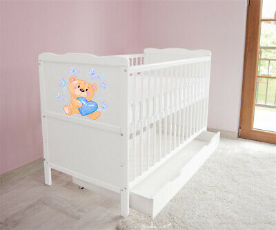 New White Wodden Baby Cot Bed / mattress / teething rails / drawer  nr 37