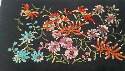 Vintage Oriental Embroidered Black Silk Jewellery Box Textile Chinese Antique
