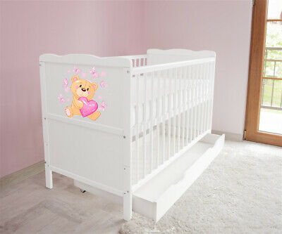New White Wodden Baby Cot Bed / mattress / teething rails / drawer  nr 38