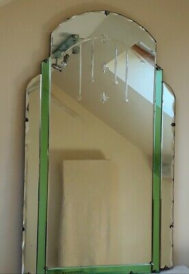 AN X-LARGE ORIGINAL ART DECO VINTAGE GREEN SKYSCRAPER MIRROR - 40 inches high