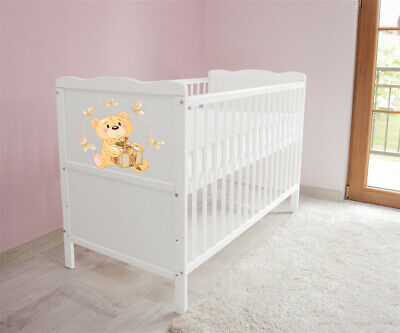 New White Wodden Baby Cot Bed / mattress / teething rails /   nr 20