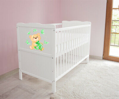 New White Wodden Baby Cot Bed / mattress / teething rails /   nr 22
