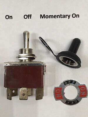 30 Amp DPDT 3 Position / On - Off - Momentary On Toggle 2050-TSM Switch 12 Volt