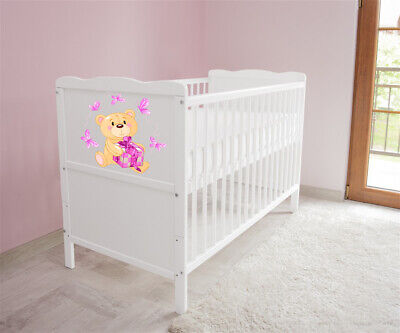 New White Wodden Baby Cot Bed / mattress / teething rails /   nr 23