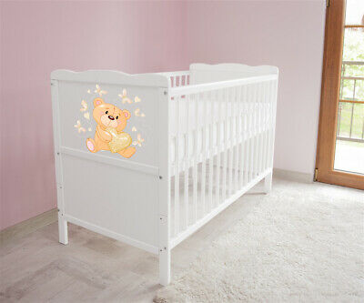 New White Wodden Baby Cot Bed / mattress / teething rails /   nr 25