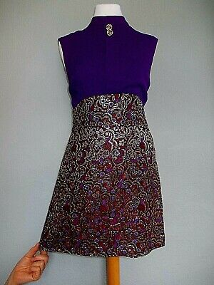 Vintage 60's Size 8 10 Mod PSYCH Scooter SPACE AGE Brocade ICONIC Dress 8 10