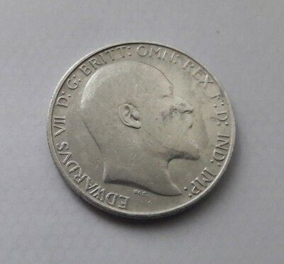 1908  Edward Vii Silver One Florin / Two Shillings Coin