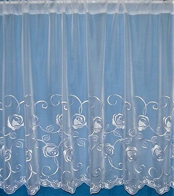 Capri A White Voile Straight Has Sheen Embroidered Base Net Curtain By The Metre