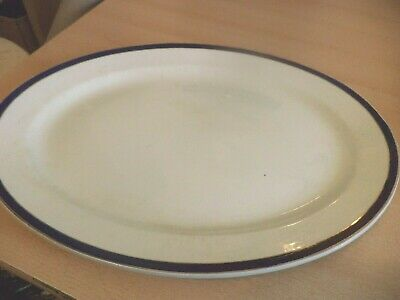 Old Vintage Antique China Pottery Large Meat Plate Platter Blue White Gold