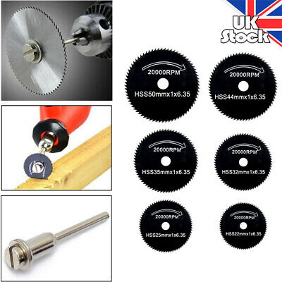 6pcs 22-44mm HSS Saw Disc Wheel Cutting Blades For Drills Rotary Tools Cutter UK
