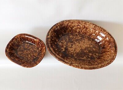 Bennington Pottery Vermont ~ 'Rockingham' MCM Large Oval Baker Bowl
