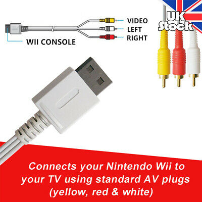 UK Audio Video AV Composite 3RCA Cable TV Lead Wire For Nintendo Wii/Wii U Game