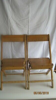 2 Palmer & Snyder Vintage Wooden Folding Chairs
