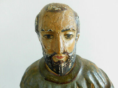 17th Century French Extremely Rare Large Polychrome Carved Wood St Peter Statue