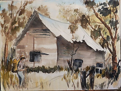 'ARRIVING AT THE CABIN' Vintage Watercolor Painting California Artist