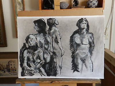 Mid Century 'FOUR NUDE WOMEN' Study Vintage Drawing Painting