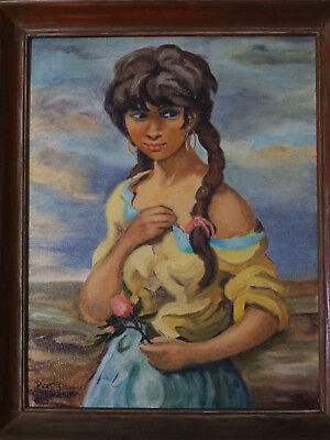 ca 1960's Portrait _'A GIRL AND HER ROSE' Vintage Oil Painting