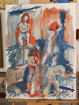 Impressionism 'STUDY COMPOSITION' Vintage Nude Woman Watercolor Painting