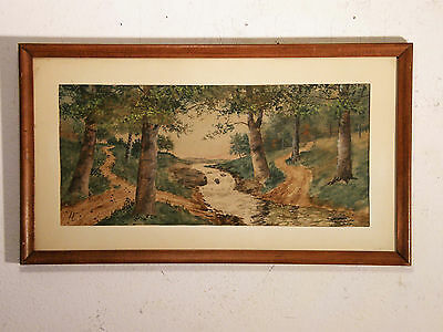 Excellent! ca 1950 'THE FOREST TRAIL' Vintage Watercolor Painting