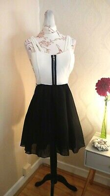 f0bb73d9d CAMEO ROSE AT NEW LOOK Black/Cream Thick Strap Fit & Flare Dress [Size