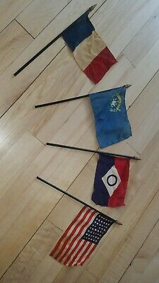 4 Vintage MINIATURE SMALL PARADE FLAGS 48 Stars Battle Born Nevada French