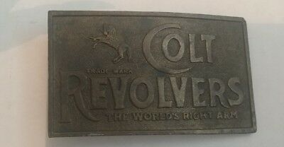 Vintage 1976 **Colt Revolvers The World's Right Arm** Belt Buckle