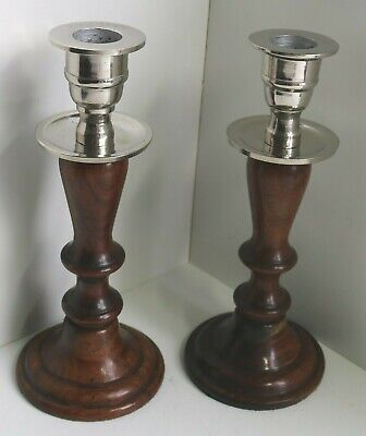 Pair Vintage Wooden Candlesticks / Art Deco Silver Candle Holders / 19