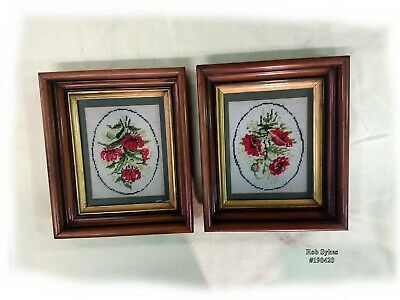 Pair of Antique Shadowbox Walnut Frames with Needlepoint ca. 1860