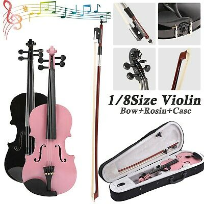 1/8Size Gloss Natural Acoustic Violin Fiddle w/Case Bow Rosin Musical Instrument