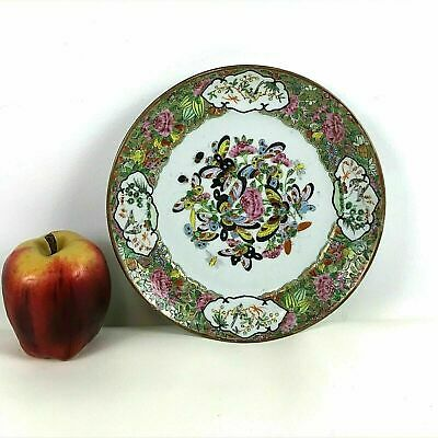 19th Century Rose Medallion Chinese Porcelain Plate Butterfly Decorated #212