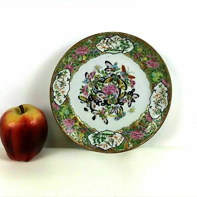 19th Century Rose Medallion Chinese Porcelain Plate Butterfly Decorated #213