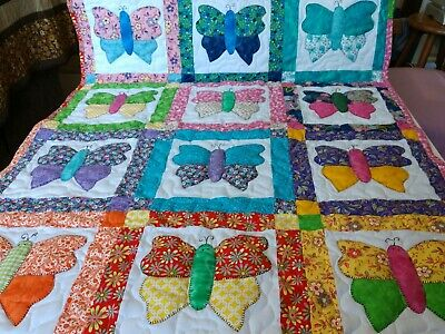 Handmade Girls Appliqued Pieced Butterfly Baby Crib Quilt Blanket Personalized